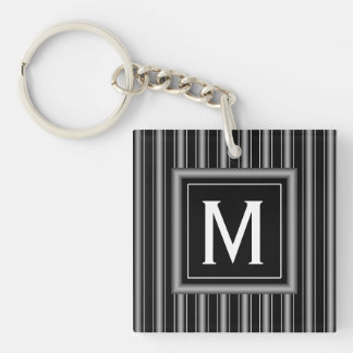 Modern Masculine Black, White and Grey Stripes Square Acrylic Keychain