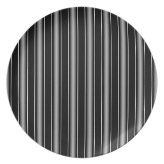 Modern Masculine Black, White and Grey Stripes Plate