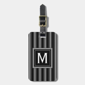 Modern Masculine Black, White and Grey Stripes Tag For Luggage
