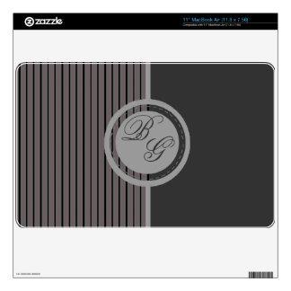 Modern Masculine Design Monogram with  Stripes MacBook Decal