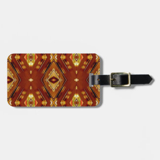 Modern Masculine Fall Toned Tribal Pattern Luggage Tag