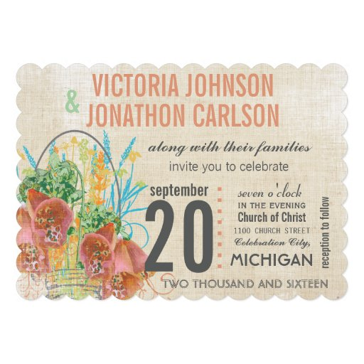 Modern Mason Jar Coral and Mint Floral Wedding Announcement