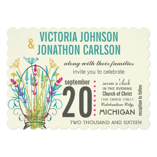 Modern Mason Jar Coral Yellow Lime Floral Wedding Custom Invitation