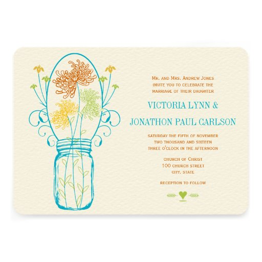 Modern Mason Jar Coral Yellow Lime Floral Wedding Personalized Invite