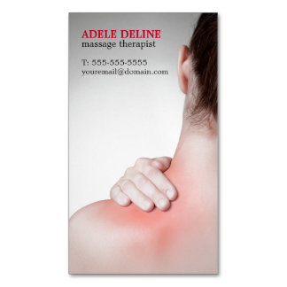 Modern Massage Therapist Woman's Back Magnetic Business Card