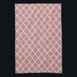 "Modern Mauve Pink and White Moroccan Quatrefoil Hand Towel<br><div class=""desc"">Add some style to your kitchen with these cute,  trendy mauve pink and white quatrefoil kitchen towels.</div>"