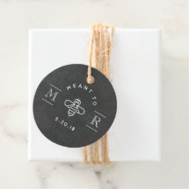 Modern Meant to Bee Honey Wedding Chalkboard Round Favor Tags