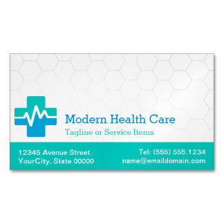 Modern Medical Health Care - White Green Blue Business Card Magnet