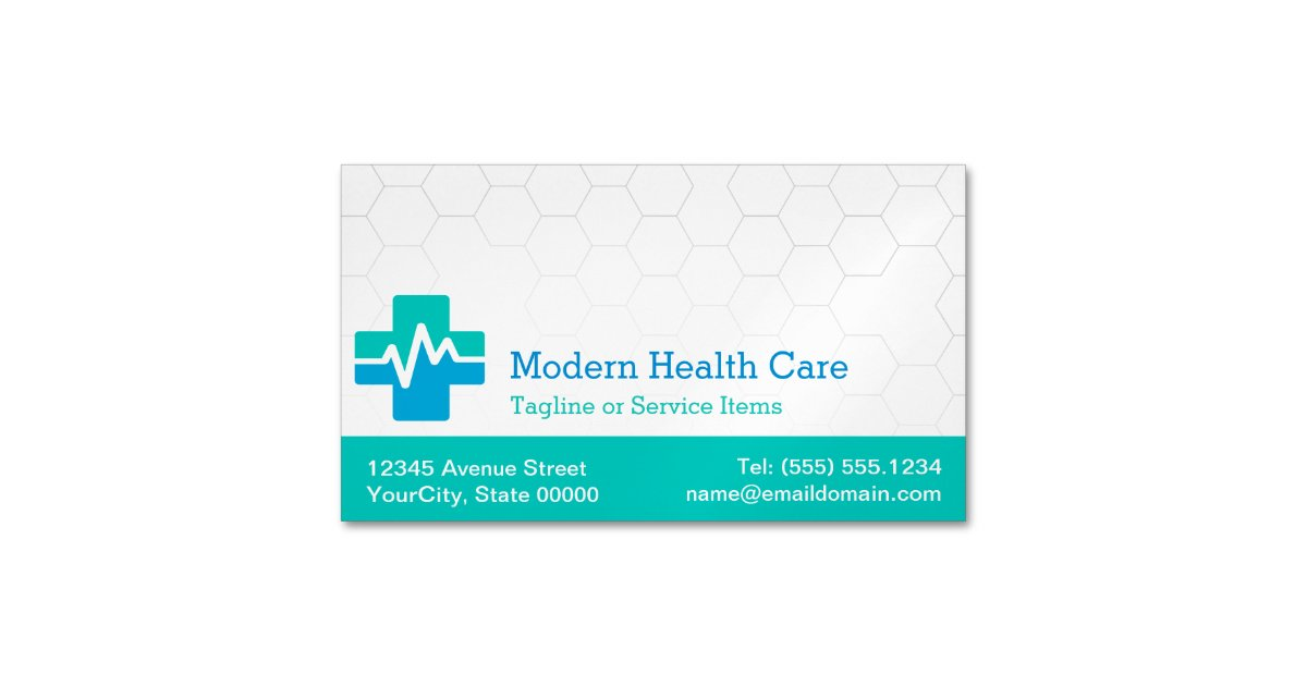 Modern Medical Health Care White Green Blue Business Card Magnet Zazzle