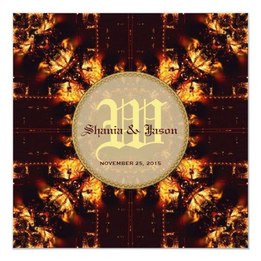 Modern Medieval Fire Monogram Wedding Card