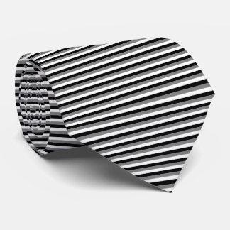 Modern Medium Gray, White, Black Pinstripe Stripes Tie