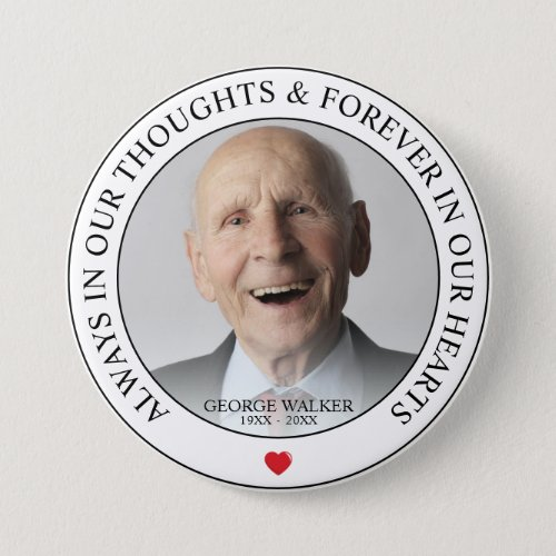 Modern Memorial Photo Tribute  Funeral Button