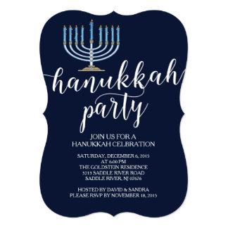 Modern Menorah Hanukkah Celebration Invitation