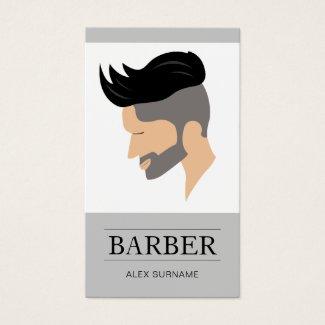 Modern Men's Hair Style Illustration Gray Barber Business Card