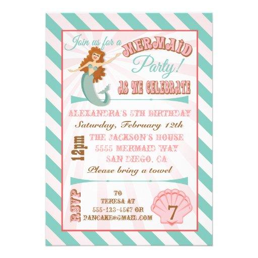 Modern Mermaid Birthday Party Invitation (front side)