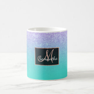 Modern mermaid lavender glitter turquoise ombre coffee mug