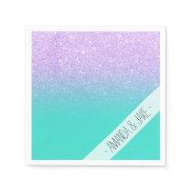 Modern mermaid lavender glitter turquoise ombre paper napkin