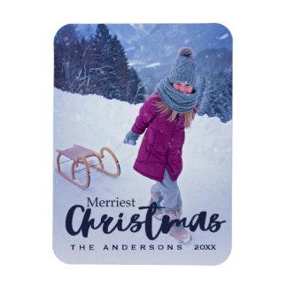 Modern Merriest Christmas Script Holiday Photo Magnet