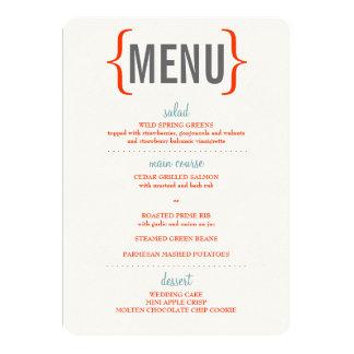 Modern Merriment Wedding Menu 5x7 Paper Invitation Card