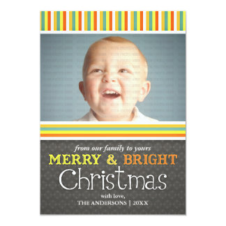 Modern Merry & Bright Colorful Christmas Photo Invite