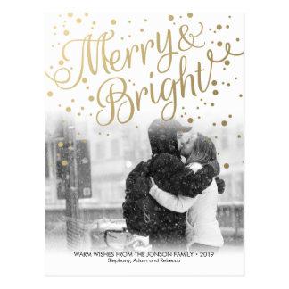 Modern Merry Bright Gold Confetti Photo Postcard