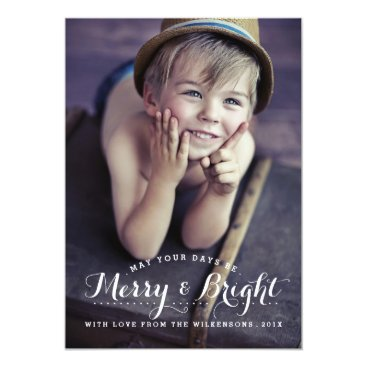 Christmas Themed Modern Merry & Bright Holiday Two Photo Card