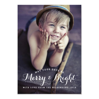 """Modern Merry & Bright Holiday Two Photo Card 5"""" X 7"""" Invitation Card"""