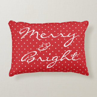 "Modern ""Merry & Bright"" Polka Dot Christmas Pillow"