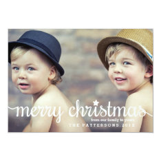 Modern Merry Christmas Big Photo Card at Zazzle