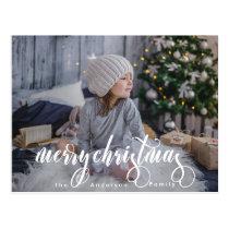 Modern Merry Christmas Calligraphy Photo Postcard