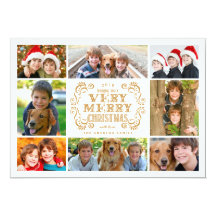 Modern Merry Christmas Collage Holidays Photo Card Custom Invitation