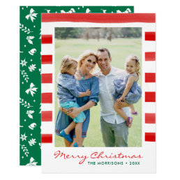 Modern Merry Christmas Family Photo Holiday Card