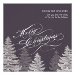 Modern Merry Christmas Flat Greeting Cards Trees Announcement