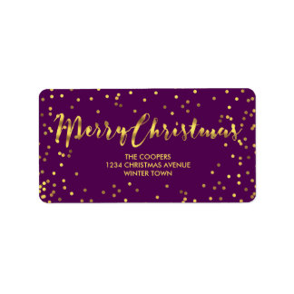 Modern Merry Christmas Gold Foil Confetti Purple Label