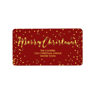 Modern Merry Christmas Gold Foil Confetti Red Label