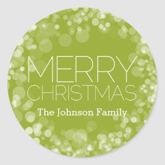 Modern Merry Christmas Green Bokeh Personalized Classic Round Sticker