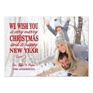 Modern Merry Christmas Hand Lettered Full Photo 5x7 Paper Invitation Card