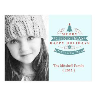 Modern Merry Christmas Holiday Photo Postcard