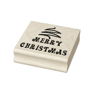 Modern Merry Christmas Message Rubber Stamp