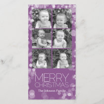 Modern Merry Christmas Orchid Bokeh Personalized Holiday Card