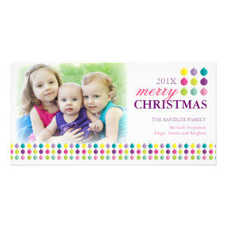 Modern Merry Christmas Ornament Colorful Photo Card