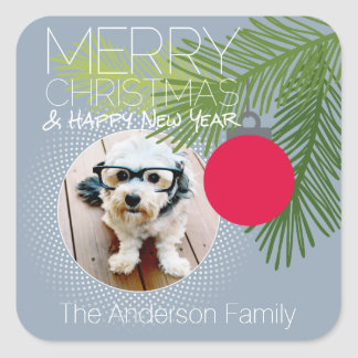 Modern Merry Christmas Ornament One Photo Square Sticker