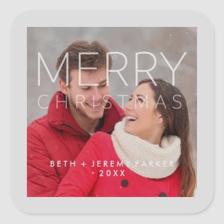 Modern Merry Christmas Overlay and your Photo Square Sticker