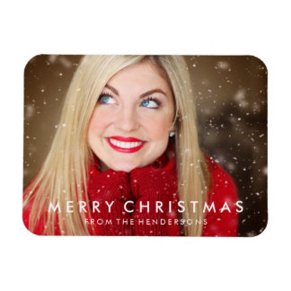 Modern Merry Christmas Photo Magnet