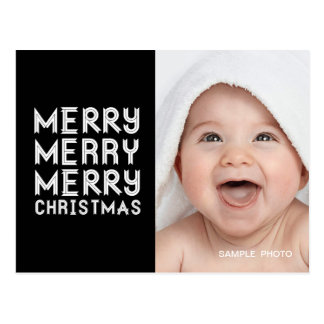MODERN MERRY CHRISTMAS PHOTO POSTCARD BLACK