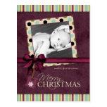 Modern Merry Christmas Polka Dots Postcard