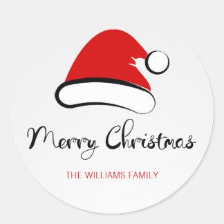 Modern Merry Christmas Santa Hat Round Sticker