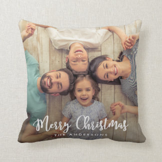 Modern Merry Christmas Script | Holiday Photo Throw Pillow