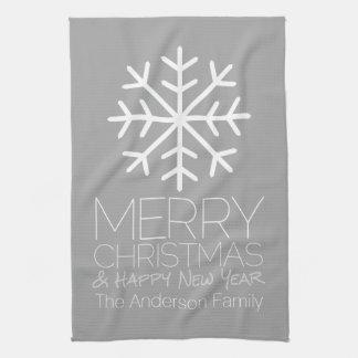 Modern Merry Christmas Snowflake - silver gray Hand Towel