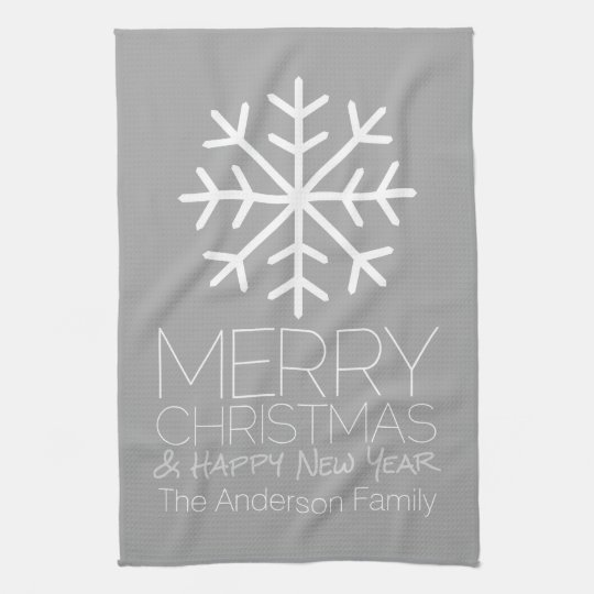 Modern Merry Christmas Snowflake - silver gray Kitchen Towel